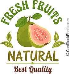 Guava. Fresh natural tropical exotic fruit emblem - Guava....
