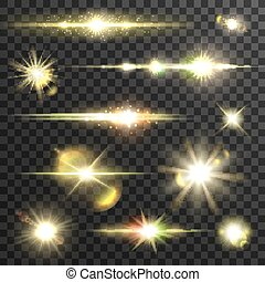 Shining star light rays vector set with lens fare