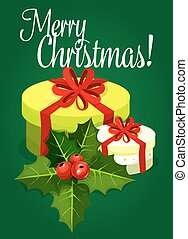Christmas gift with bow, holly berry card design
