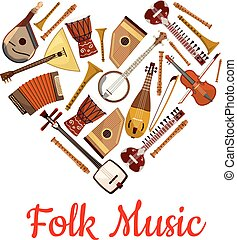 Folk music heart emblem of musical instruments. Music label...