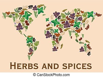 Herbs and spices flat icons in world map shape. Continents...