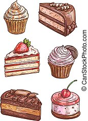 Patisserie sweet desserts scketch icons - Patisserie sweet...
