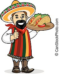 Mexican cook with menu and tacos