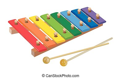 Xylophone - Children's rainbow xylophone on a white...