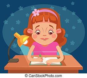 Little girl child character doing homework. Vector flat...