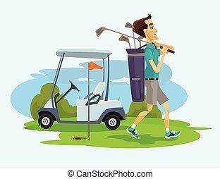Golfer man character playing golf. Vector flat cartoon...