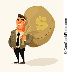 Happy rich businessman character hold big money bag. Vector...