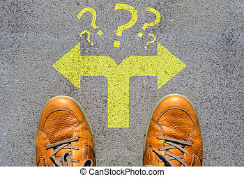 Confused which way to go or choose direction concept