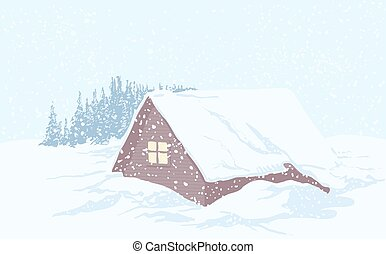 Snowy Christmas house - Wooden house in the woods in...