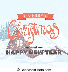 The inscription Merry Christmas and Happy New Year -...