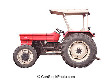 old style tractor isolated