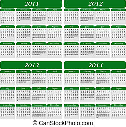 Four Year Calendar in Green for the years 2011, 2012, 2013,...
