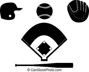 Baseball Silhouettes - Set of baseball silhouettes including...