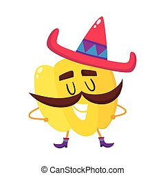 Smiling bell pepper with thick moustache and Mexican sombrero
