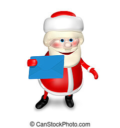 3D Illustration of Santa Claus with Envelope