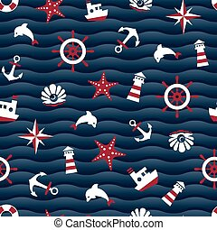 Sea symbols on a blue wavy background seamless pattern....