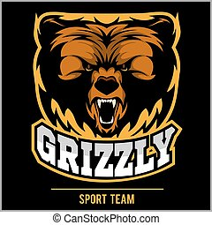 Grizzly mascot - team logo design. - Grizzly mascot, team...