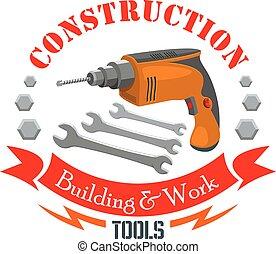 Gebouw, bouwsector, werken, gereedschap, meldingsbord