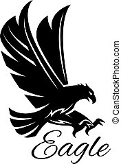 Eagle hawk vector black heraldic icon - Eagle bird black...