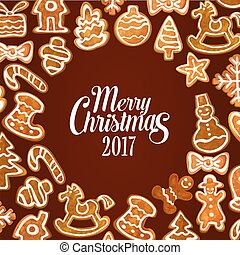 Christmas gingerbread cookie festive poster design -...