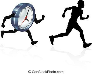 Time Race Against Clock Concept - A man running racing a...