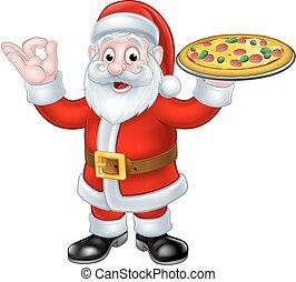 Santa Claus Pizza Christmas Cartoon Character - Santa Claus...