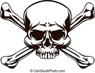 Skull and Cross Bones Sign - A skull and cross bones drawing...