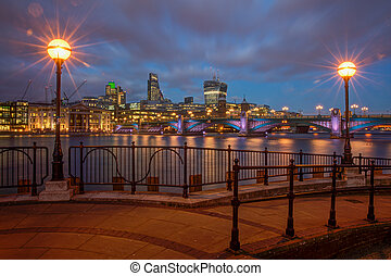 Southwark Bridge panorama - Panorama of river Thames and...