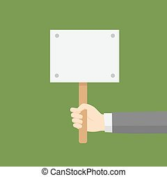 Hand Holding A Blank Placard
