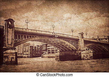 Blackfrairs bridge in London - Toned sepia old picture of...