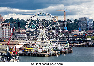 Ferris Wheel on Seattle Shore - Waterfront architecture of...