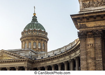 Closeup of Kazan Cathedral in St Petersburg, Russia....