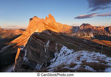 peak Seceda hills of Odle group at Val Gardena Dolomites...