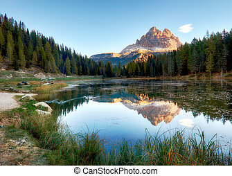 Lake mountain landcape with Alps  peak reflection, Lago Antorno, Dolomites