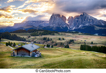Alps sunrise green mountain panorama landscape, Alpe di...