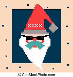 Vector pixel Santa