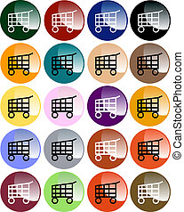 Set of Colorful Shopping Cart Buttons