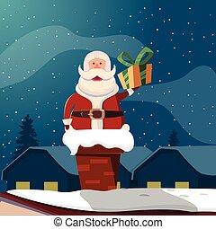 Santa Claus In Chimney Funny Illustration