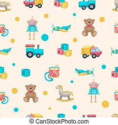 Kids Toys Pattern - Pattern with kids toys objects and...