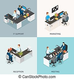 Office Isometric Icon Set - Four square colored office...