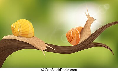 Snails In The Wild Illustration - Nature composition with...