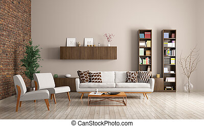 Modern living room interior 3d rendering - Modern living...