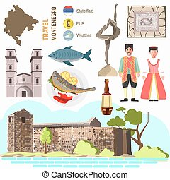 Montenegro culture symbol set. Europe Travel Montenegro...