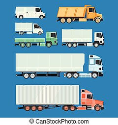 Trucks and trailers on a white background.