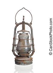 Kerosene lamp covered with cobwebs. Isolated on white...