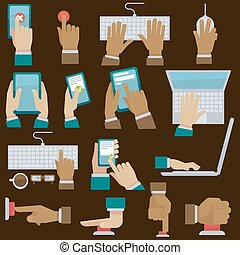 Hands set with gadgets. Vector illustration.
