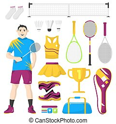 Badminton icons set. Badminton, sport equipment and uniform for workout and tournament.