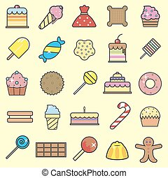 Set of sweet food icons set. Tasty collection of Sweets