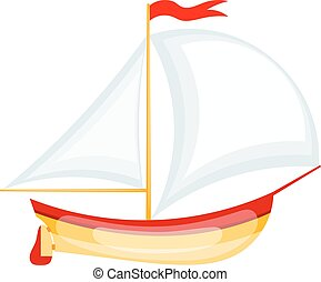 Vector illustration of a small sailing yacht. Cartoon yacht on white background. Isolated object