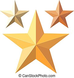 Vector illustration of a set of gold stars. Cartoon style gold stars on a white background, isolate the subject